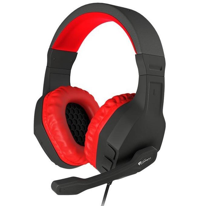 Слушалки Natec Genesis Argon 200, микрофон, геймърски, червено/черни  image
