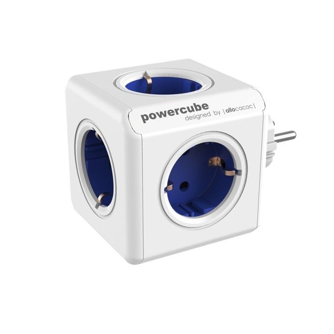 Разклонител Allocacoc Power Cube 1100BL, 5 гнезда, защита от деца, бял/син image
