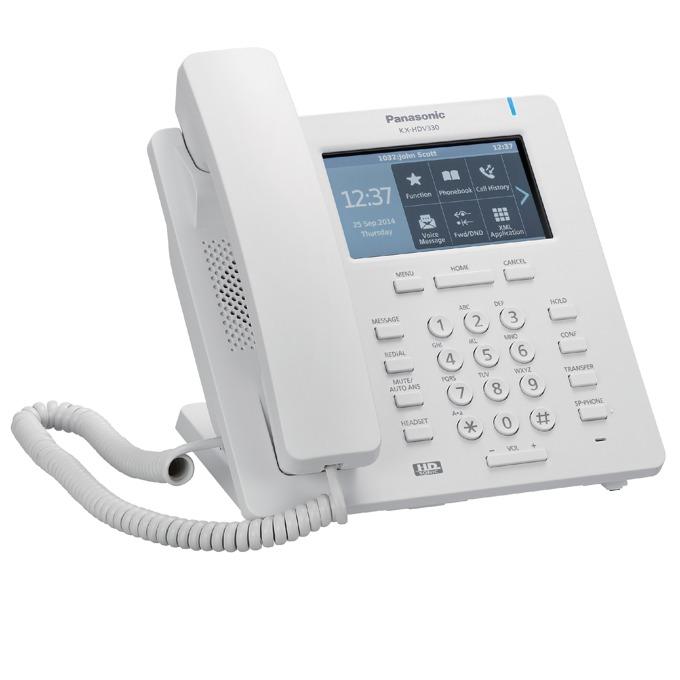 """VoIP телефон Panasonic KX-HDV330, 4.8"""" (12.19 cm) TFT LCD тъч цветен дисплей, Bluetooth, Gigabit Ethernet & PoE, HD Sonic звук, светеща клавиатура, съвместимост със слухов апарат, бял image"""