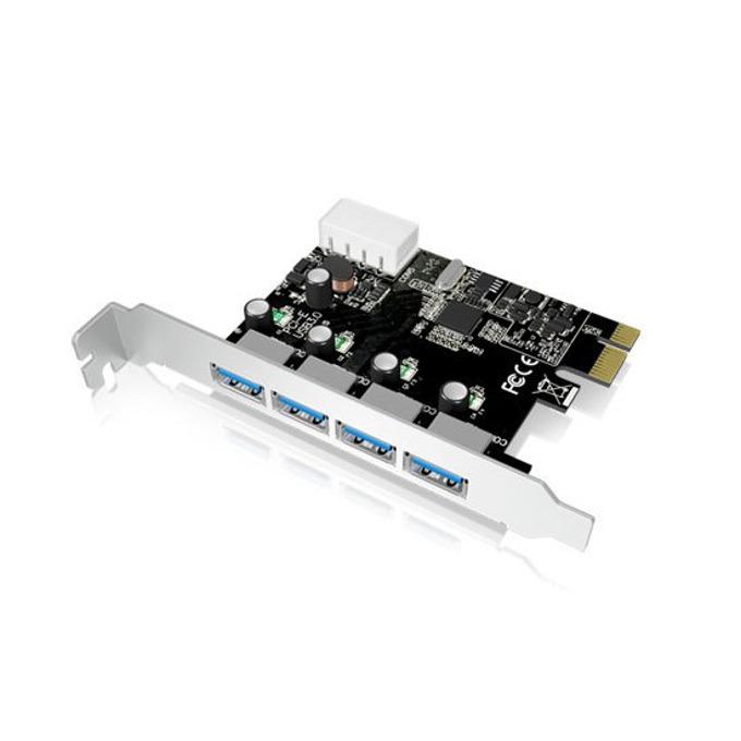 Контролер RaidSonic IB-AC614a, от PCIe x1(Rev.2.0) към 4x USB 3.0(ж), 5 Gbit/s, 4-pin Molex image