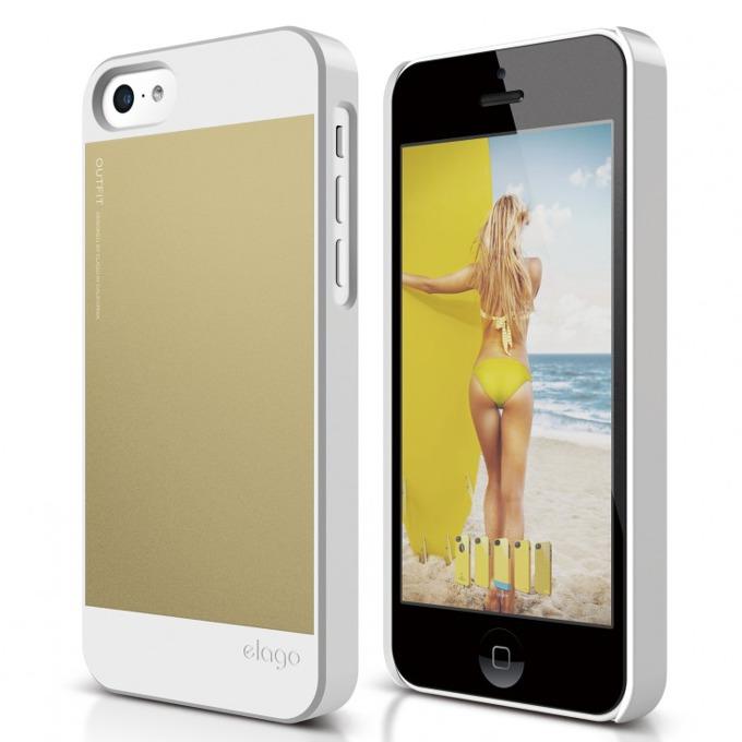 Поликарбонатов протектор Elago C5 Outfit за iPhone 5C, бял-златист image