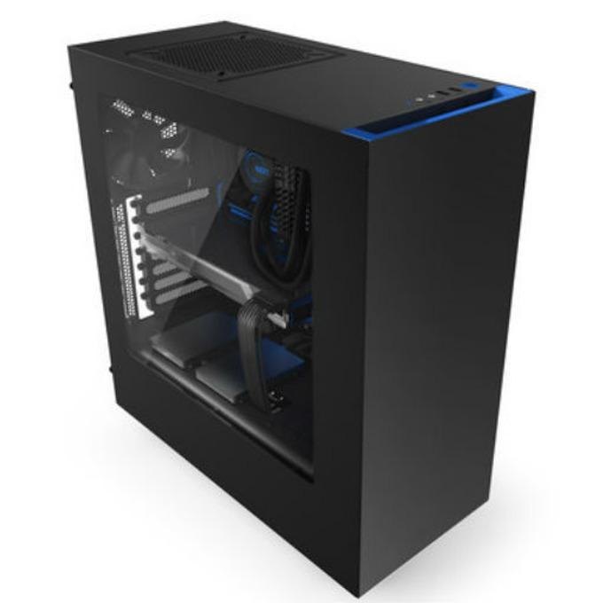 Кутия NZXT Source S340, ATX/micro ATX, 2x USB 3.0, прозорец, черна със син кант, без захранване image
