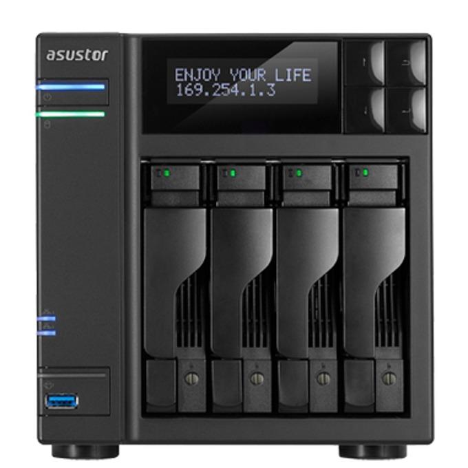Мрежови диск (NAS) Asustor AS7004T, дву-ядрен Intel® Core i3 3.5 GHz, без твърд диск (4x SATA), 2GB RAM, 2x Lan1000, 3x USB 3.0, 2x USB 2.0, 2x eSATA image