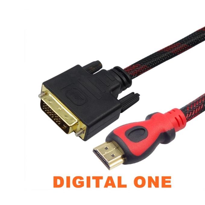 Кабел Digital One SP00046, от HDMI(м) към DVI(м), екраниран с твърда оплетка, 5m, черен image
