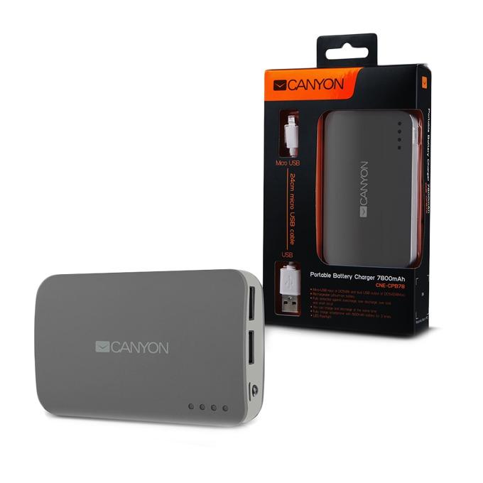 Външна батерия/power bank Canyon CNE-CPB78DG, 7800mAh, тъмно-сива image