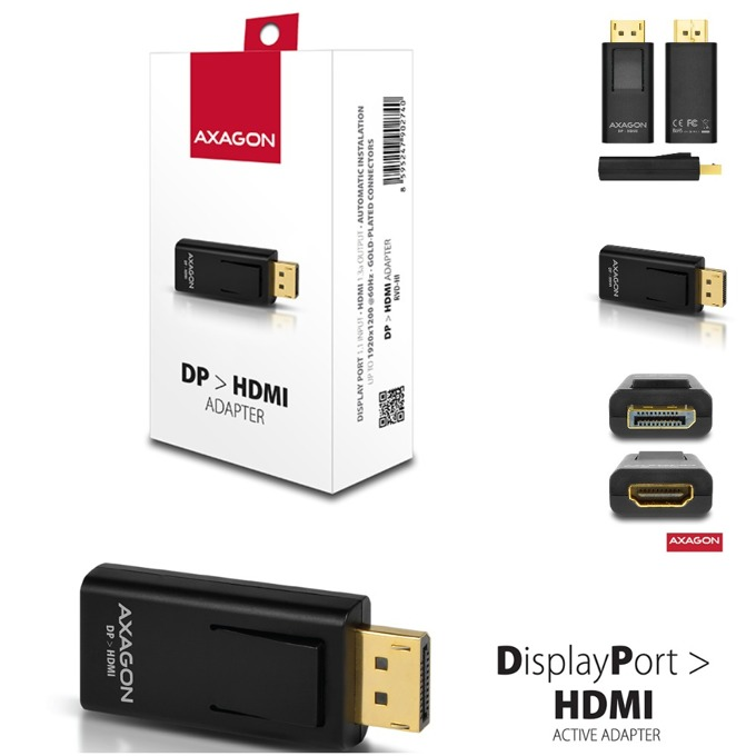 Преходник AXAGON RVD-HI, от DisplayPort(м) към HDMI(ж), черен image