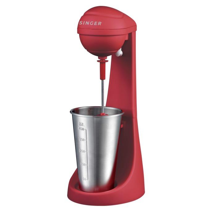 Μашина за фрапе и напитки Singer SDM100RRD, Вместимост на мензура 0.450л, Защитен бутон, Нехлъзгаща се основа, 100W, червена image