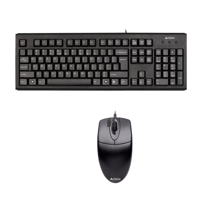 Клавиатура A4Tech KB-72620D, клавиатура KM-720 & мишка OP-620D, черни, PS/2 image