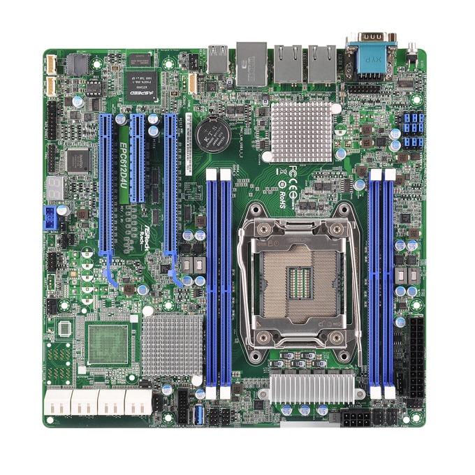 Дънна платка за сървър ASRock Rack EPC612D4U, LGA2011-3, поддържа DDR4 LRDIMM/RDIMM, 2x LAN1000, 1x IPMI LAN port, 8x SATA3 6.0Gb/s(RAID 0/1/5/10), 2x USB 3.0, mATX image
