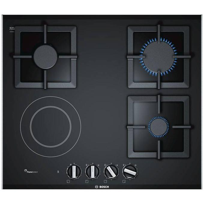 Стъклокерамичен плот за вграждане Bosch PSY 6 A6 B20, 4 нагревателни зони (1 електрически, 3 газови), черен image