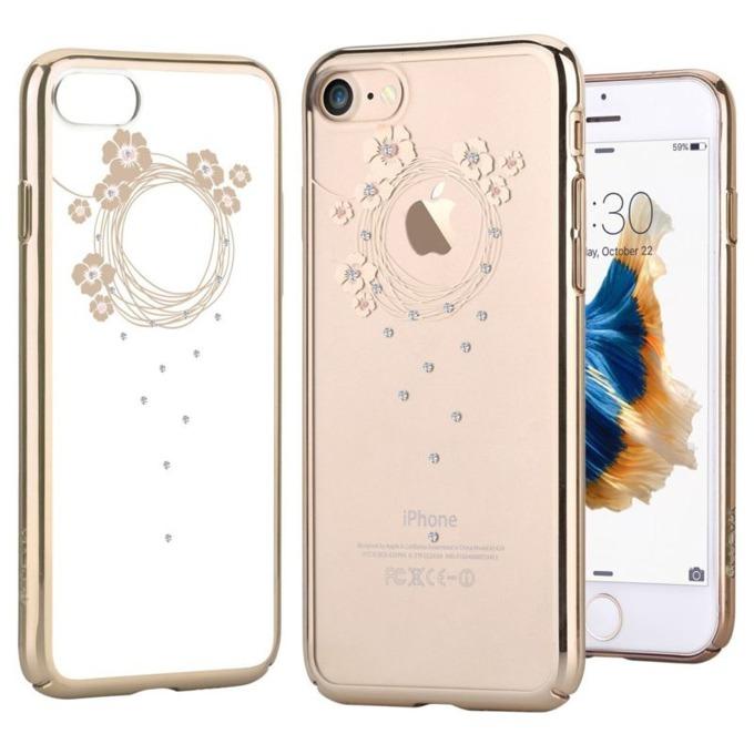Калъф за Apple iPhone 7+, страничен протектор с гръб, поликарбонат, Devia Crystal Garland, с кристали Сваровски, златист image