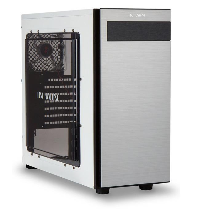 Кутия In-Win 703, ATX/Micro ATX, 1xUSB3.0, 2x120mm вентилатор, бяло/черен, без захранване image