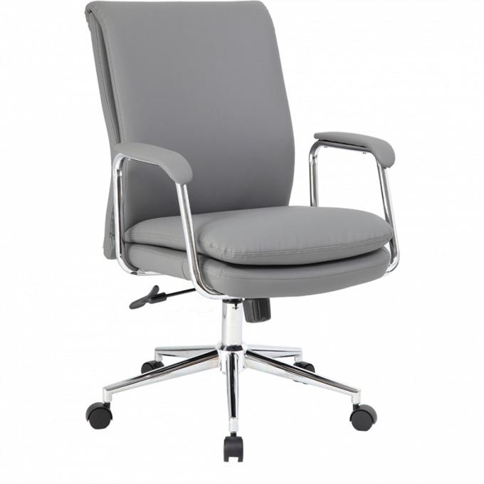 Офис стол OKOffice Colombo, хромирана база, еко кожа, до 130 кг, сив image