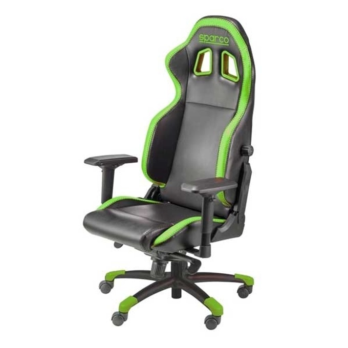 Геймърски стол Sparco GRIP Green, черно/зелен image