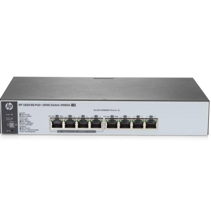 Суич HPE 1820 65W, 8x 10/100/1000 Base-T, PoE, 128MB RAM, 16MB Flash памет image