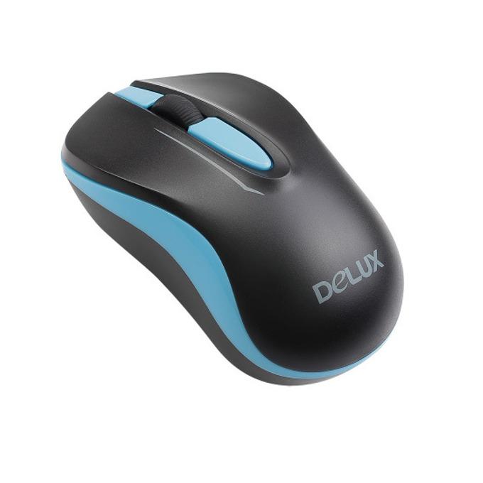 Мишка Delux M137GX, оптична(1000dpi), безжична, USB, черна/синя image