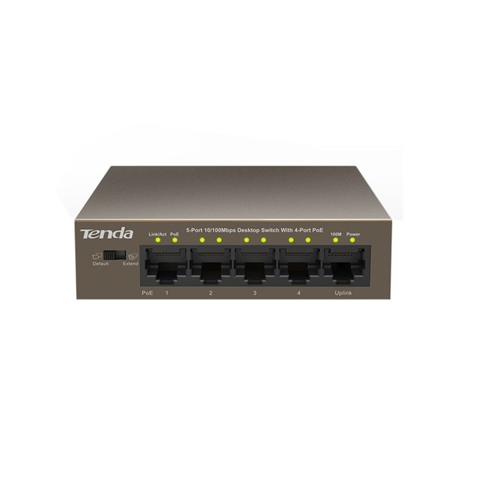 Суич Tenda TEF1105P, 100Mbps, 5x LAN10/100/100Mbps, 5x PoE image