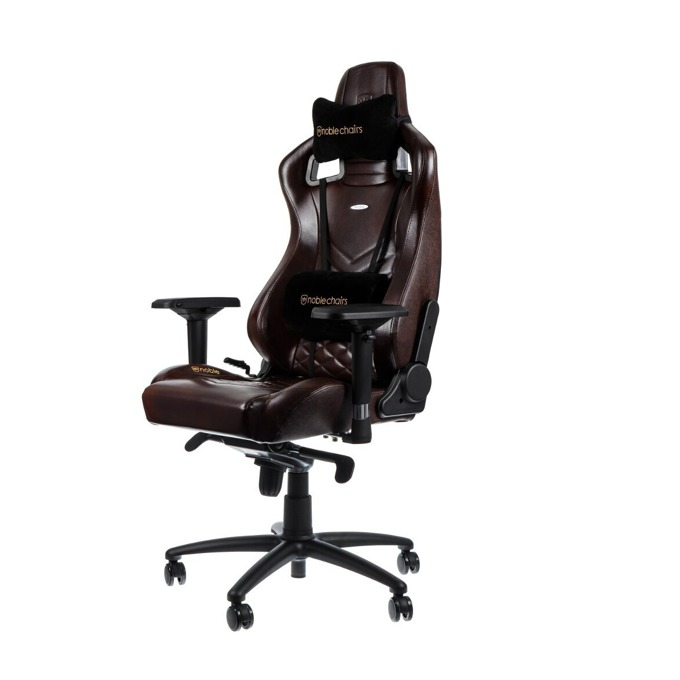 Геймърски стол noblechairs EPIC, естествена кожа, кафяв/черен image