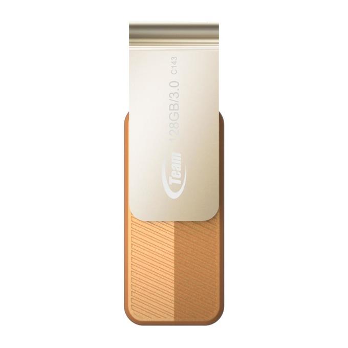 128GB USB Flash Drive, Team Group C143, USB 3.0, кафява image