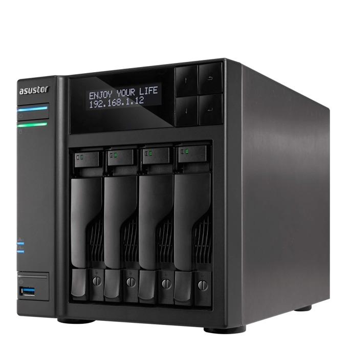 """Asustor AS6404T, четириядрен Intel Celeron J3455 1.5/2.3GHz, без твърд диск(4x SATA3/SSD 2.5""""/3.5""""), 8GB DDR3L RAM, 2x Lan1000, 1x HDMI, 4x USB 3.0 image"""