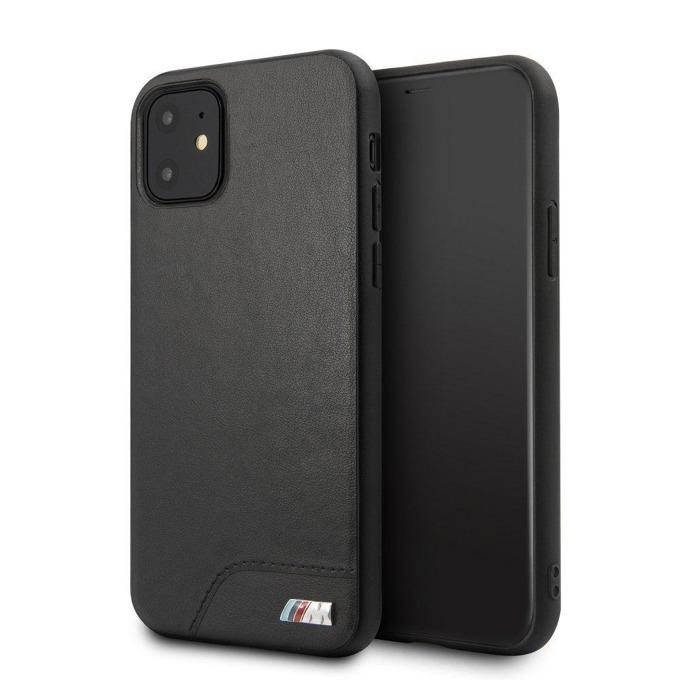 Калъф за Apple iPhone 11, естествена кожа, BMW M Collection Hard Case BMHCN61MHOLBK, черен image