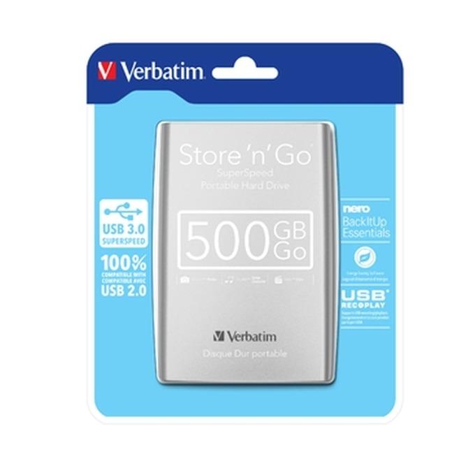 """Твърд диск 500GB Verbatim (сребрист), външен, 2.5"""", USB 3.0 image"""