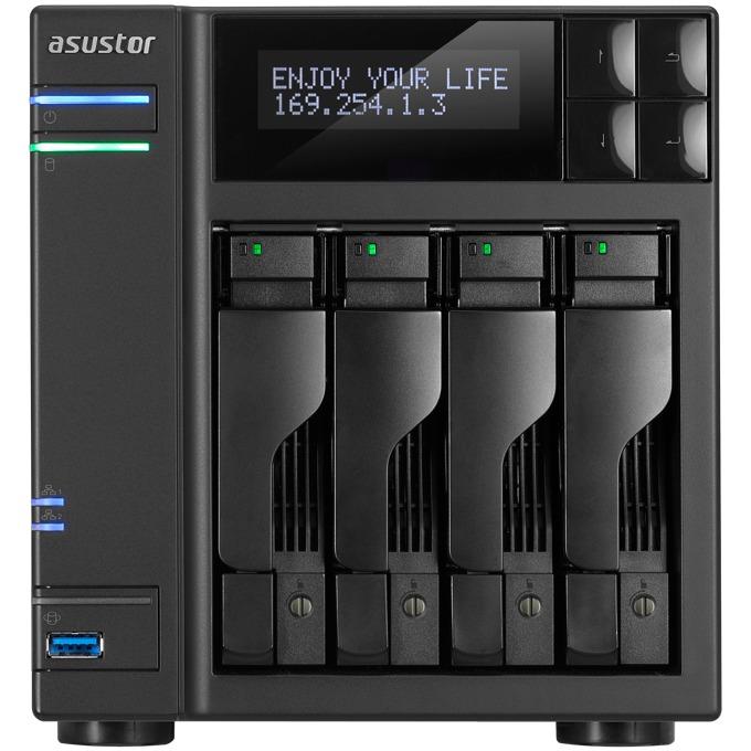 ASUSTOR AS6204T, четири-ядрен Intel Celeron N3150 1.6/2.08 GHz, без твърд диск (4x SATA), 4GB RAM, 3x USB 3.0, 2x USB 2.0, 2x eSATA, HDMI image