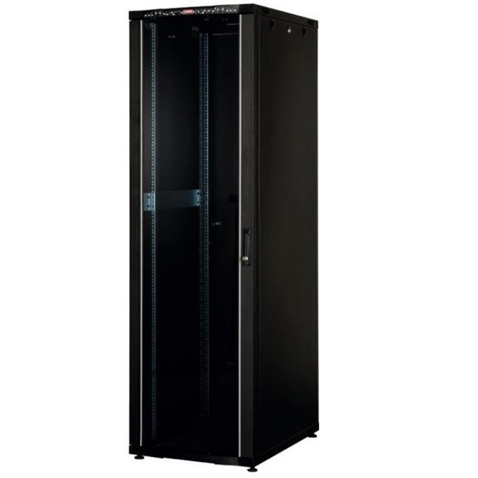 """Комуникационен шкаф Lande LN-CK32U6060-BL-121, 19"""", 32U, 600 x 600 мм, стъклена врата, LCD термометър, черен image"""