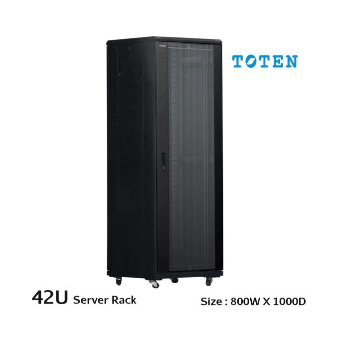 Комуникационен шкаф Toten AD, 42U, 800x1000 мм, до 800кг товароносимост, перфорирана двойна врата, черен image