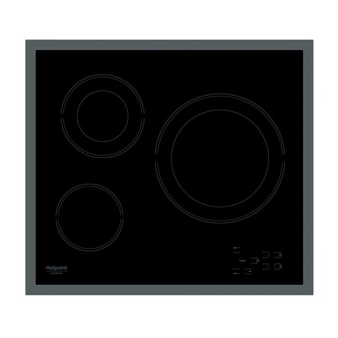 Стъклокерамичен плот за вграждане Hotpoint-Ariston HR 603X, 3 нагряващи зони, индикатор за остатъчна топлина, черен image