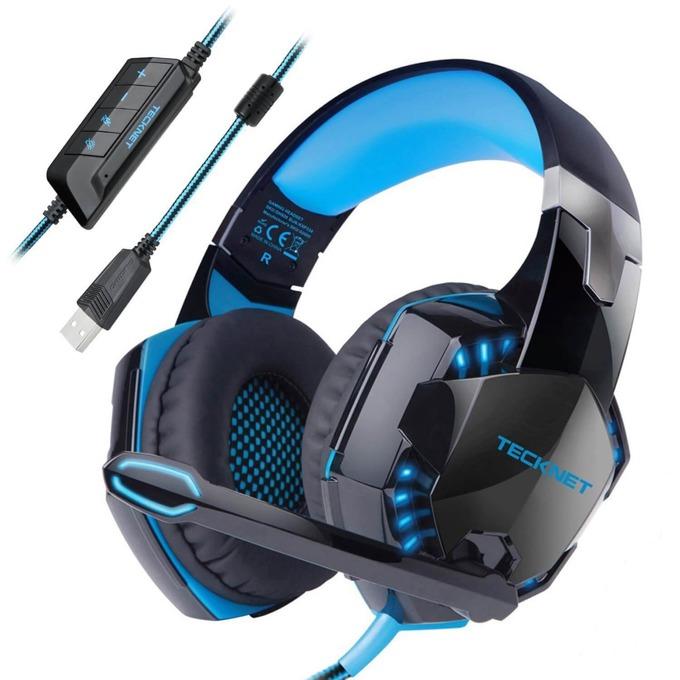 Слушалки TeckNet GH928, микрофон, 7.1, геймърски, черни/сини image