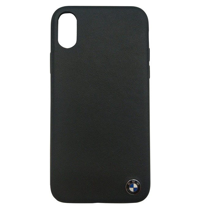 Калъф Apple iPhone X, страничен протектор с гръб, естествена кожа и поликарбонат, BMW Signature Genuine Leather Soft Case, Shock Absorbent, черен image