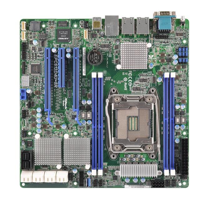 Дънна платка за сървър ASRock Rack EPC612D4U-8R, LGA2011-3, поддържа DDR4 LRDIMM/RDIMM, 2x LAN1000, 1x IPMI LAN port, 8x SATA3 6.0Gb/s(RAID 0/1), 8x SAS3 12Gb/s(RAID 0/1/10), 2x USB 3.0, mATX image
