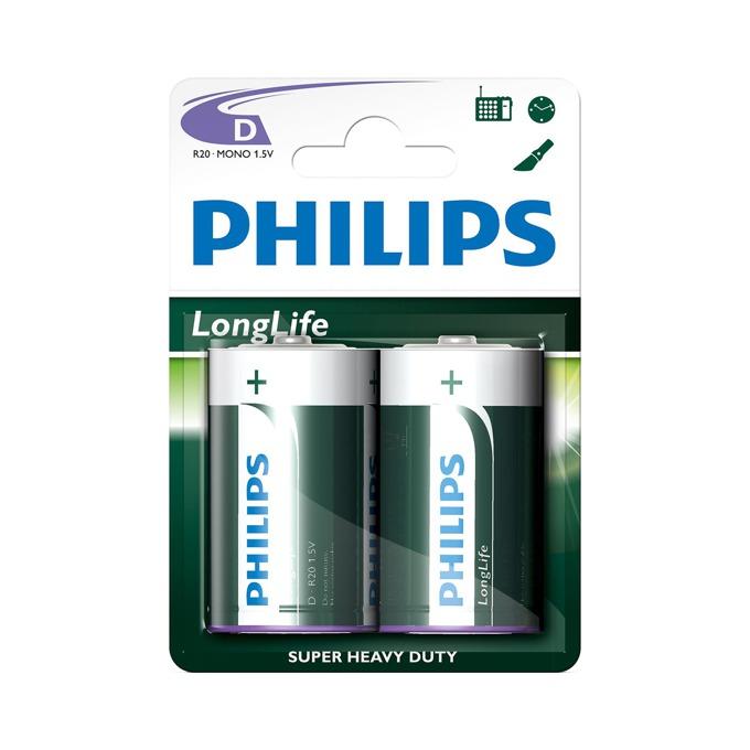 Батерии алкални Philips Longlife LR20(D), 1.5V, 2 бр. image