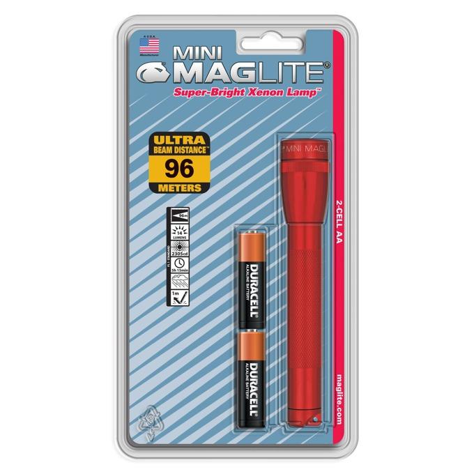 Фенер Mini MAGLITE, 2x батерии АА, 14lm, водоустойчивост, блистер, червен image