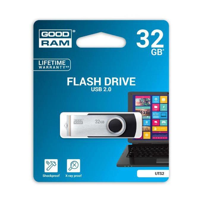32GB USB Flash Drive, Goodram UTS2, USB 2.0, черно/сребриста  image