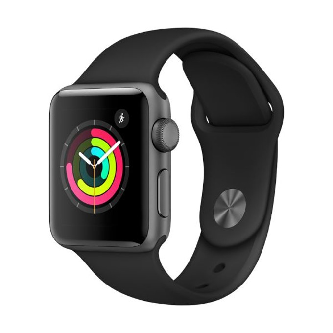 Смарт часовник Apple Watch Series 3, OLED дисплей, Bluetooth, водоустойчив, силиконова каишка, черен image