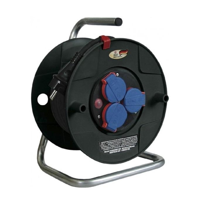 """Разклонител Brennenstuhl Gar2420, 3 гнезда, тип """"макара"""", индикатор за прегряване или претоварване, 20m, черен image"""