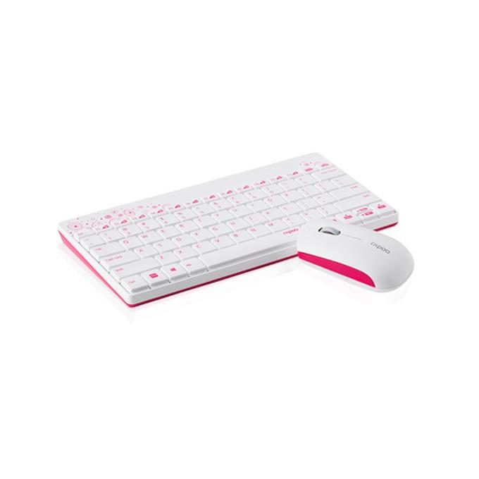 RAPOO 8000, комплект клавиатура и мишка, безжични, бели, USB image