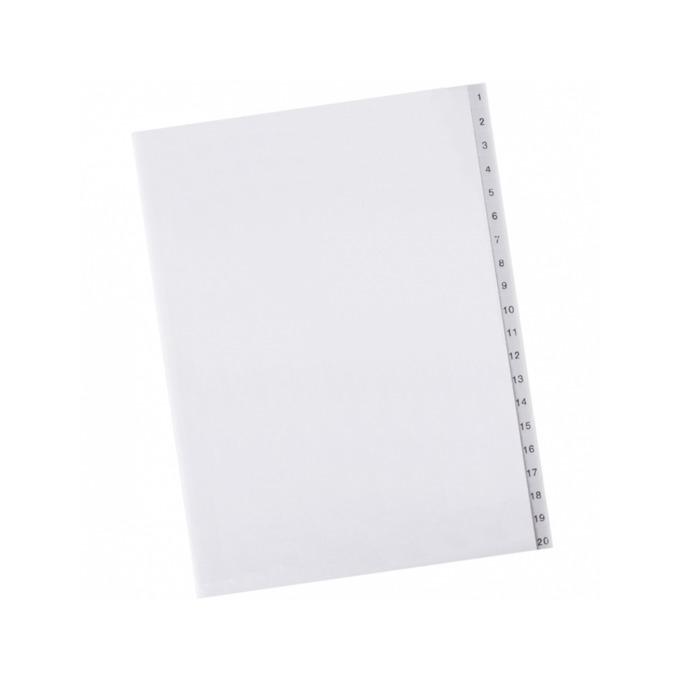 Разделител Exxo, за документи с формат до А4, с номерация от 1 до 20, бял image