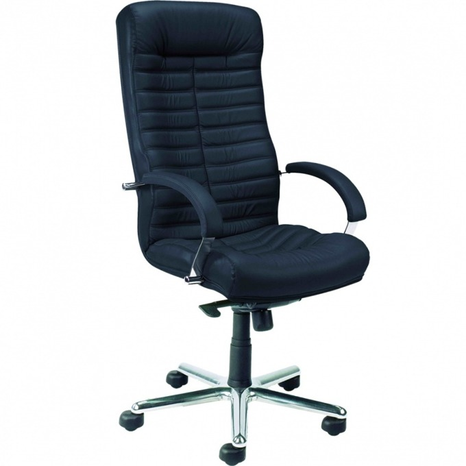 Директорски стол Orion Steel, кожа, фиксирани, метални подлакътници, алуминиева основа, газов амортисьор, мюлеещ механизъм, черен image