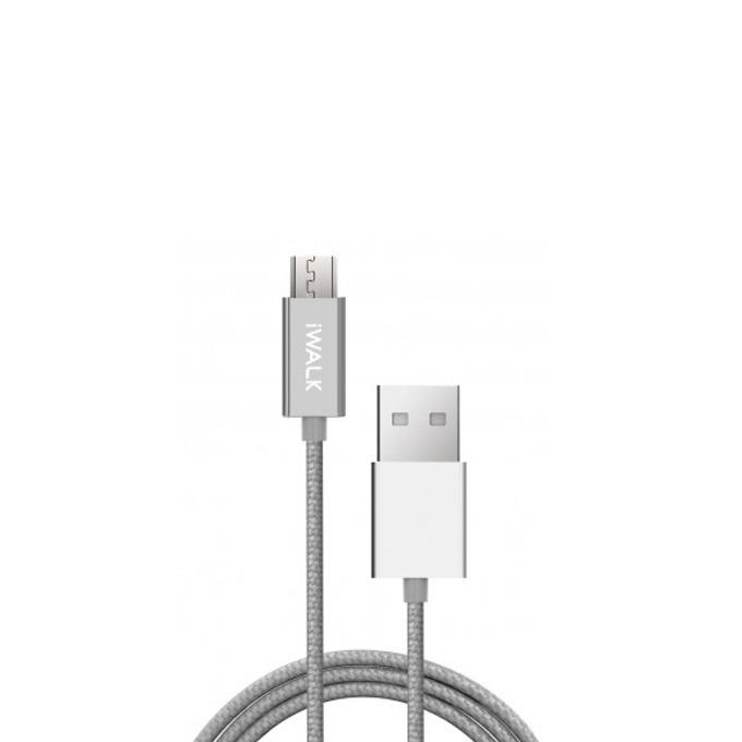 Кабел iWalk, USB A(м) към Micro USB(м), 2m, сребрист image