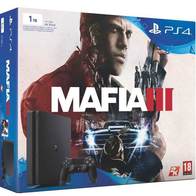 Конзола Sony PlayStation 4 Slim + Mafia III, 1TB HDD, черна image