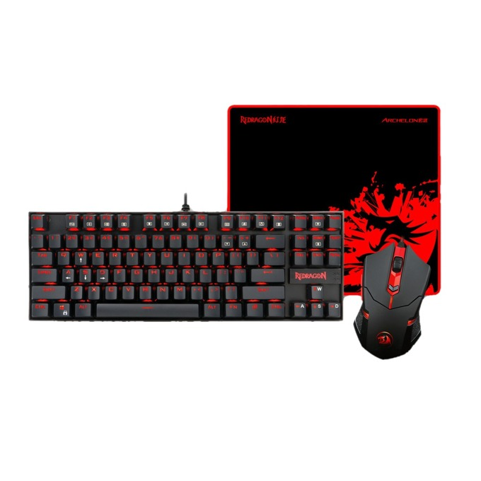 Комплект Redragon K552-BA, клавиатура/мишка/пад, механична, 3200 dpi, програмируеми бутони, червена подсветка, черни image