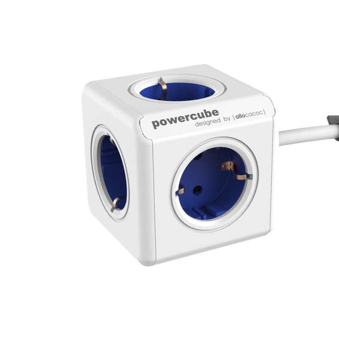 Разклонител Allocacoc Power Cube 1300GY, 5 гнезда, лепенка, защита от деца, бял/син, 1.5 м кабел image