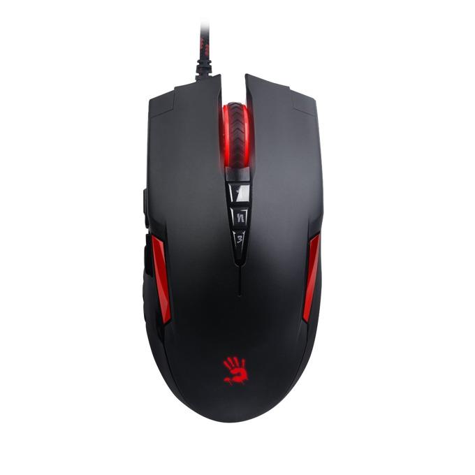 Мишка A4tech Bloody V2M, оптична (3200 cpi), 7+1 програмируеми бутона, USB, черна, гейминг image