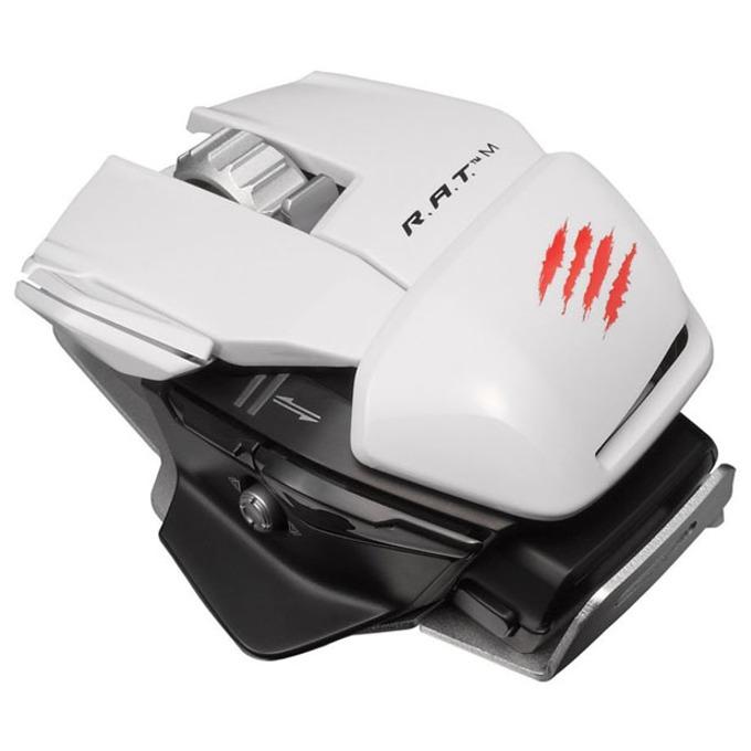 Мишка Mad Catz R.A.T. M, оптична (6400 dpi), безжична, 10 програмируеми бутона, бяла image