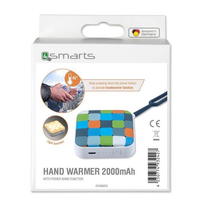 Външна батерия/power bank/ 4smarts Hand Warmer, 2000 mAh, бяла, с фенер, джобна image