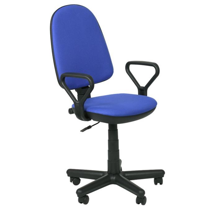 Офис стол Carmen Comfort, дамаска, подлакътници, газов амортисьор, заключване, син image