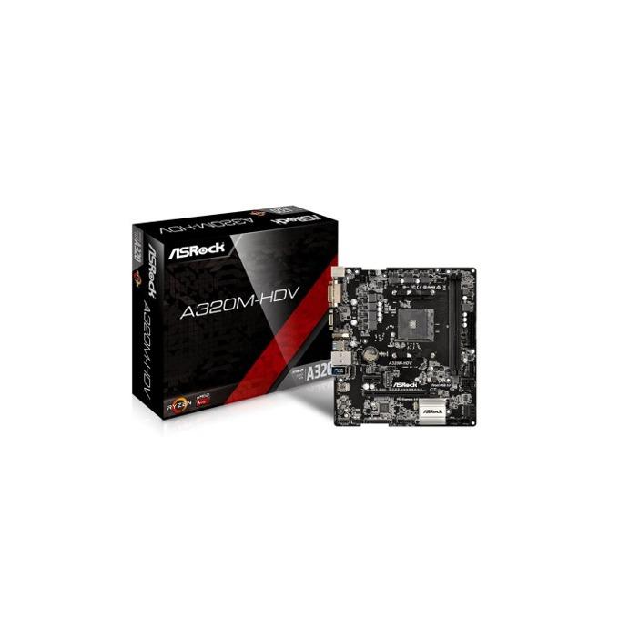Дънна платка ASRock A320M-HDV, A320, AM4, DDR4, PCI-E, 4x SATA3 6.0 Gb/s, 1x Ultra M.2 Socket, 4x USB 3.0, 4x USB 3.0, Micro ATX  image